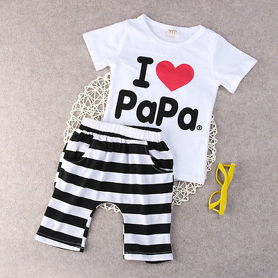 2016 Baby Boy Girls Newborn Clothes Casual Pajamas Set T shirt Pants 2PC Outfits