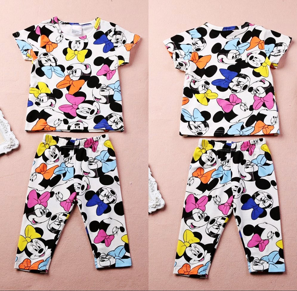 2016 Free shipping Summer Baby Girl Kids clothing Lovely Minnie Mouse clothes 2pcs T shirt Pants