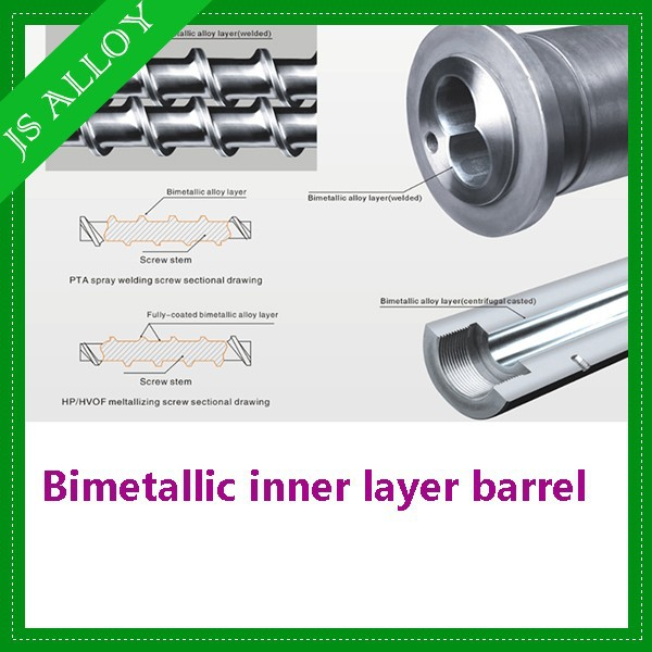 Bimetallic inner layer barrel /cylinder for single extruder plastic machine