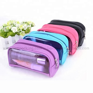 Portable Transparent PVC Window Women Makeup Pouch Travel Clear Cosmetic bag