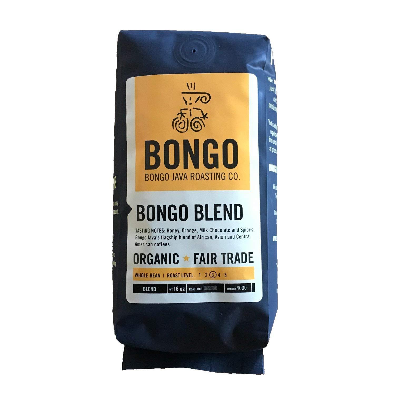 Bongo Java Roasting Co. Bongo Blend, Organic Fair Trade Whole Bean Coffee, Medium Roast, 16 oz. bag
