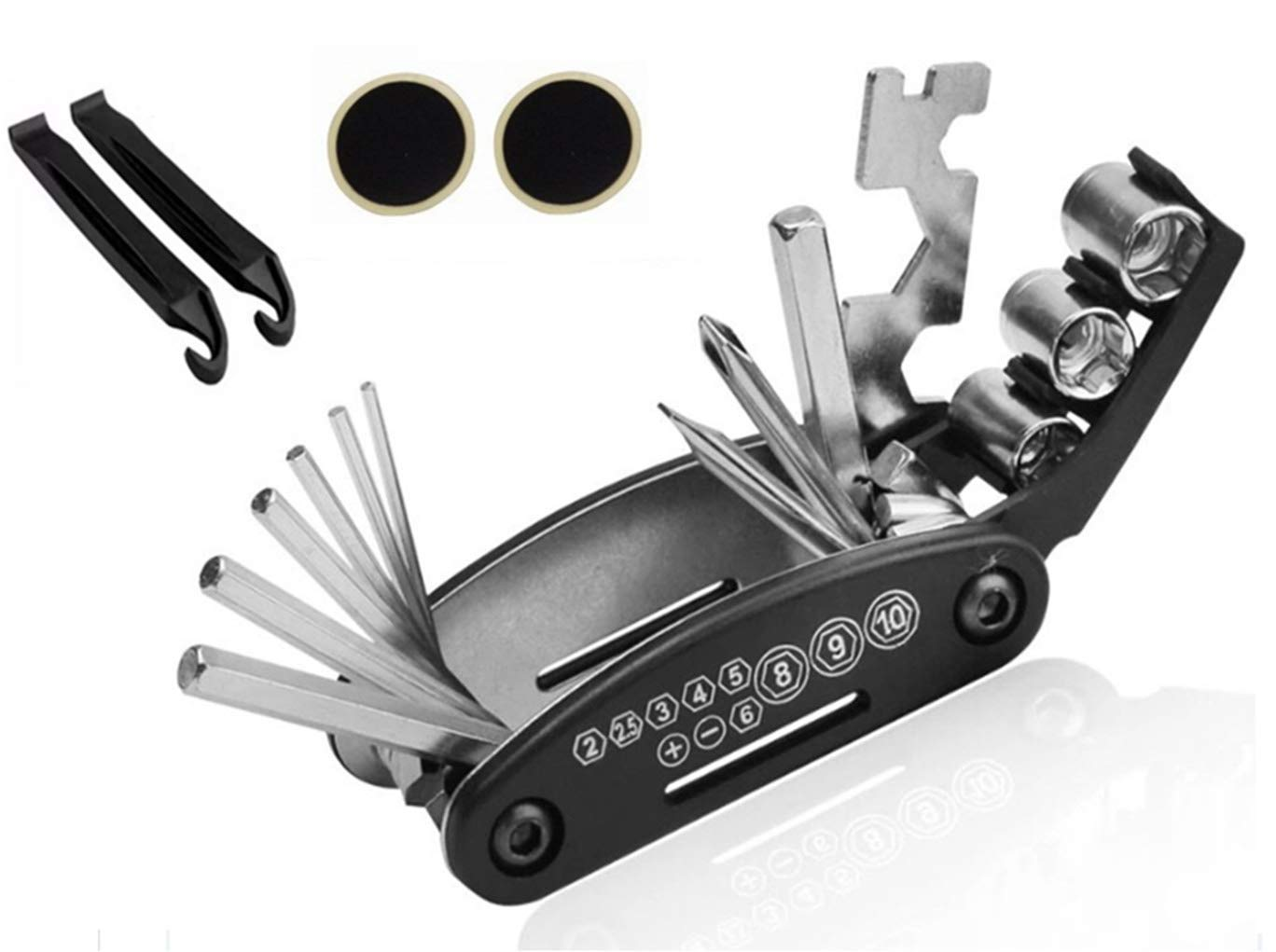 OJEALY Bike Repair Tool Kit Cycling Repair Kit 16 in 1 Multifunction Bicycle Repair Tools with Glueless Tire Repair Patches Tire Pry Bars Rods Black