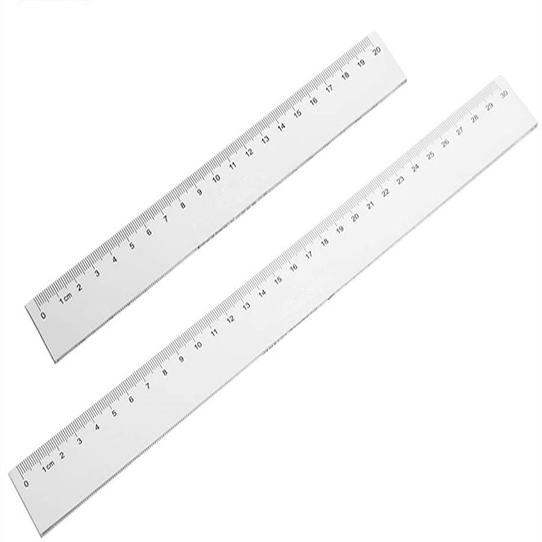 Plastic Ruler Straight Ruler Plastic Measuring Tool 12 inches and 6 inches, 2 Pieces,Pink Purple