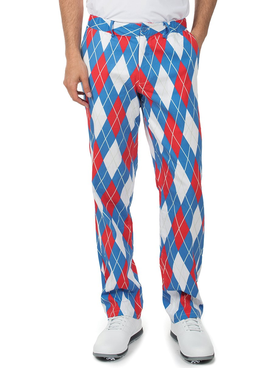 f1fb9465d Get Quotations · Tipsy Elves Men's American Flag USA Golf Pants - Patriotic  Red White and Blue Golfing Pants