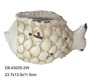 Ceramic white distressed fish for flower pot