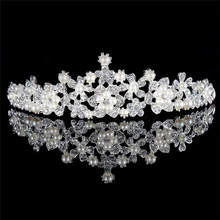 High quality pearl and rhinestone silver wedding jewelry crowns tiaras for adult