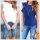 AL5115W Summer blouse for lady fashion o neck sleeveless ruffles tops slim solid plus size women casual shirt