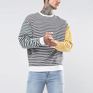OEM guangzhou clothing manufacturer striped design crewneck sweatshirt plain men