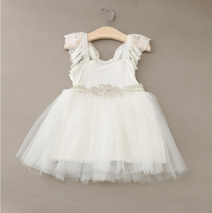 New Hot Baby Girls Fairy Tulle Lace Puff Sleeve Mesh Dress Shine Sashes Princess White Party