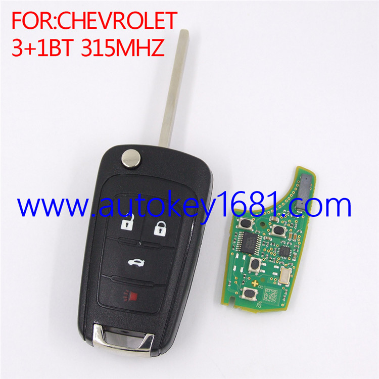 4Buttons 315mhz Keyless Remote Key Control with ID46 Electronic Chip Fob for Chevrolet Sonic Cruze Camaro