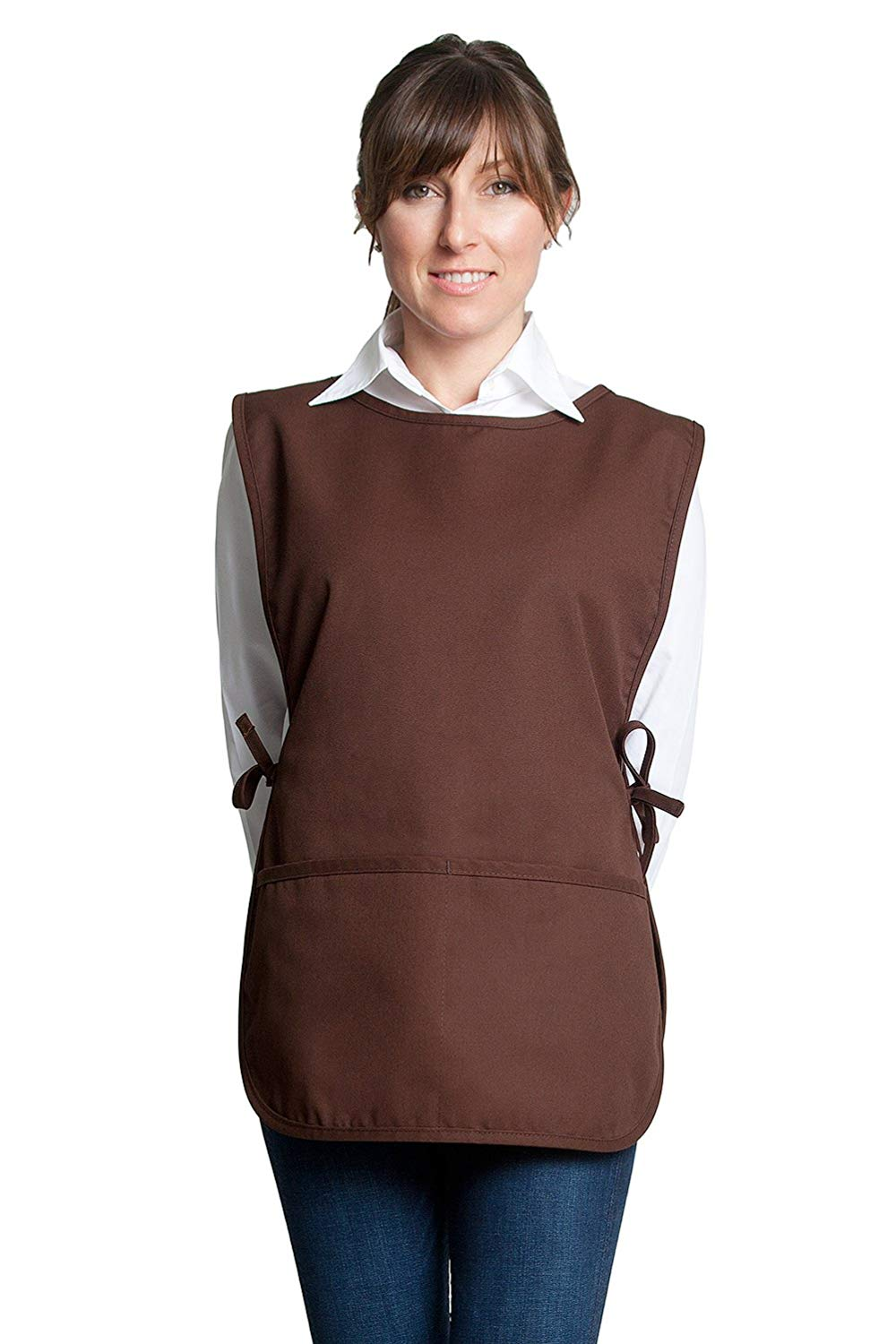 "Fiumara Apparel Cobbler Apron with 2 pockets Ideal for Kitchen - Brown | 29"" L X 20"" W 