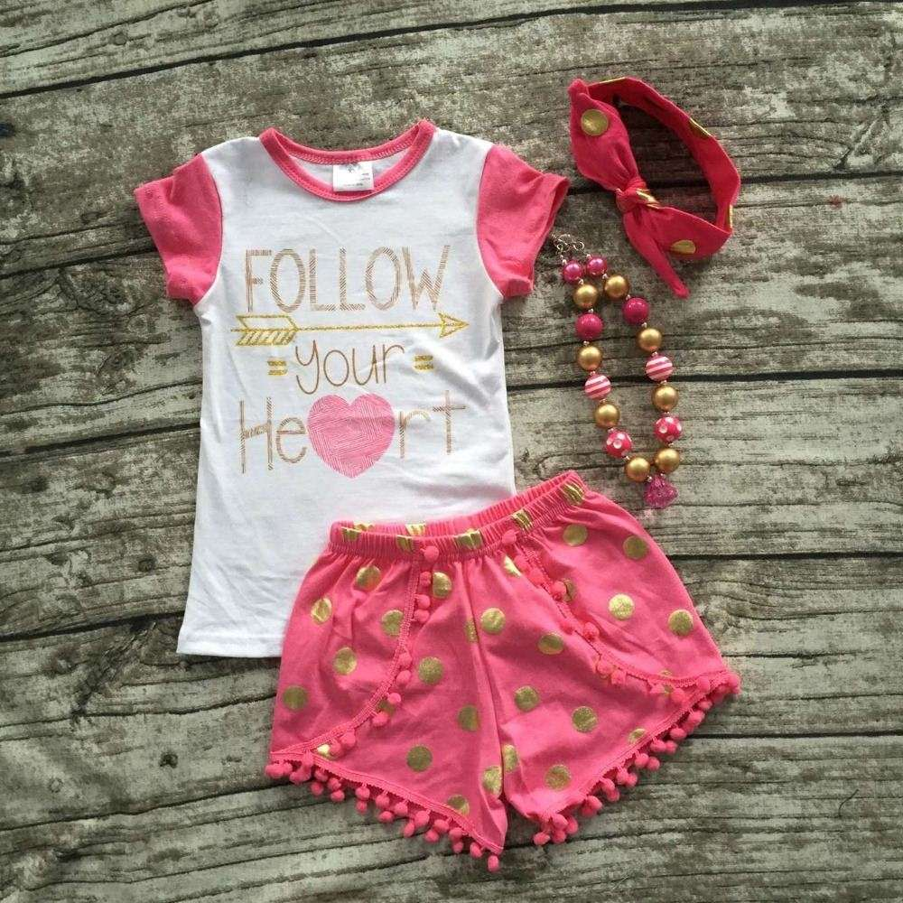 baby Girls Summer clothes girls follow your heart clothes baby girls boutique clothing with matching headband and necklace