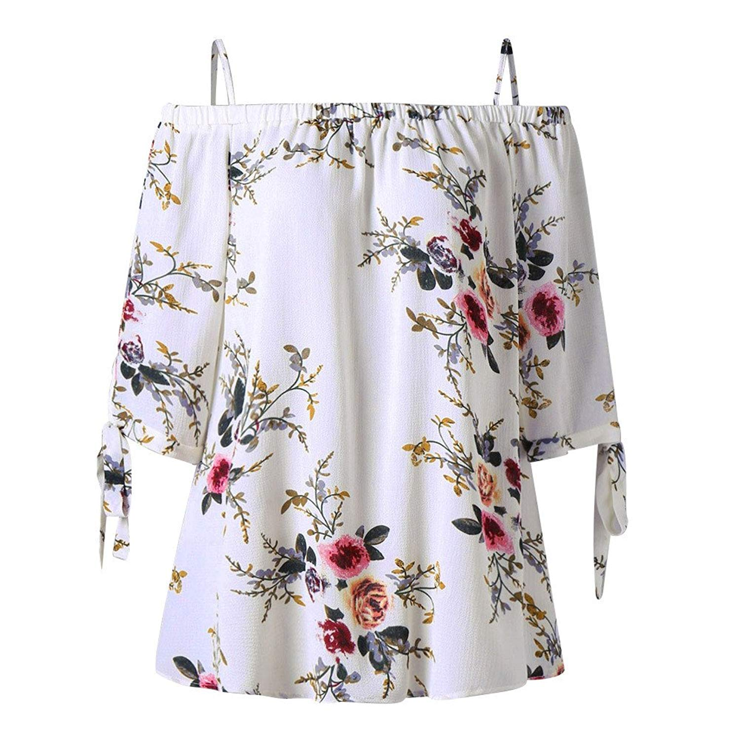 Clearance Women's Summer Off Shoulder Floral Self Tie Shirts Short Sleeve Casual Tunic T-Shirt Blouse Tops for Teen Girls