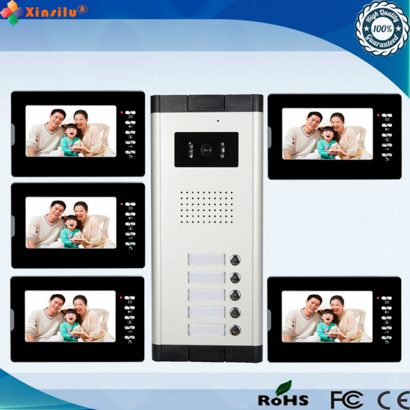 New arrival 7inch waterproof wired doorbell video intercom 5 monitor 1 outdoor camera color multi apartments video door phone