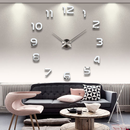 Fashion Wall Clock Mirror Stickers Decal Number Home Decor Art Craft Gift Free Shipping Free Shipping