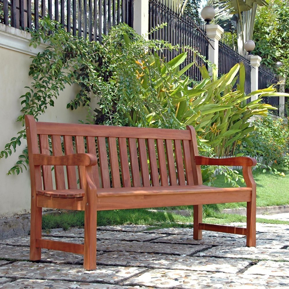 Buy 5 Ft Outdoor Wooden Garden Bench With Armrests In Cheap Price On
