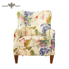 Living room furniture flower armchair fabric upholstery lounge chair
