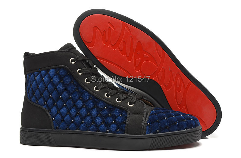 e167d5c0cf8 Navy blue high top shoes net drilling.red bottom sneakers for men . ...