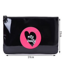 2017 Fashion Wholesale Shiny Black PU Travel Cosmetic Bag