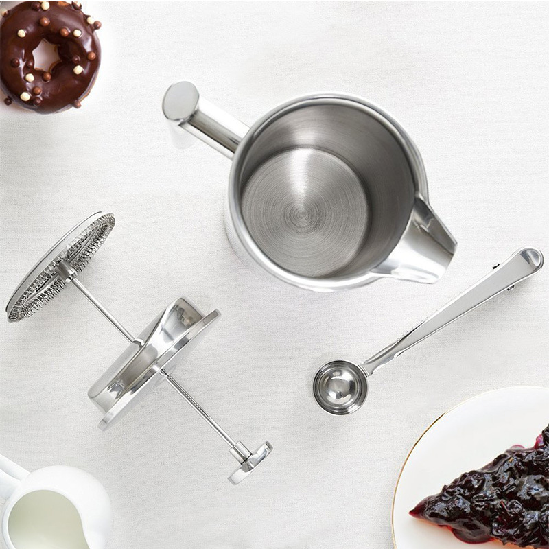Double-deck 304 stainless steel French press coffee plunger