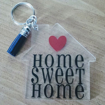 Personalized Acrylic Home House Keychains