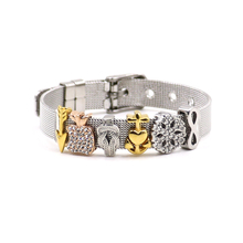 개인 Charming Infinity Crystal Apple 화살표 슬라이더 Charms Stainless Steel Bracelet Mesh 대 한 Girl Gifts