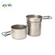 three pieces camping cooking pot High Quality Titanium cookware