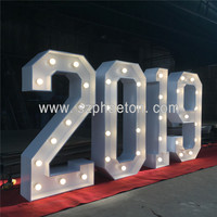 2019 new party supplies Led number metal sign, giant wedding decoration customized marquee letters