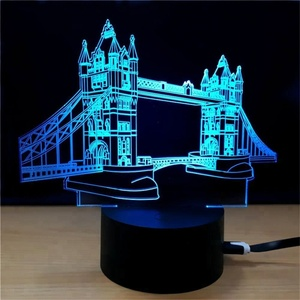 3D Illusion Lamp London Bridge Night Light 7 Colors Glows with Smart Touch Switch USB Cable
