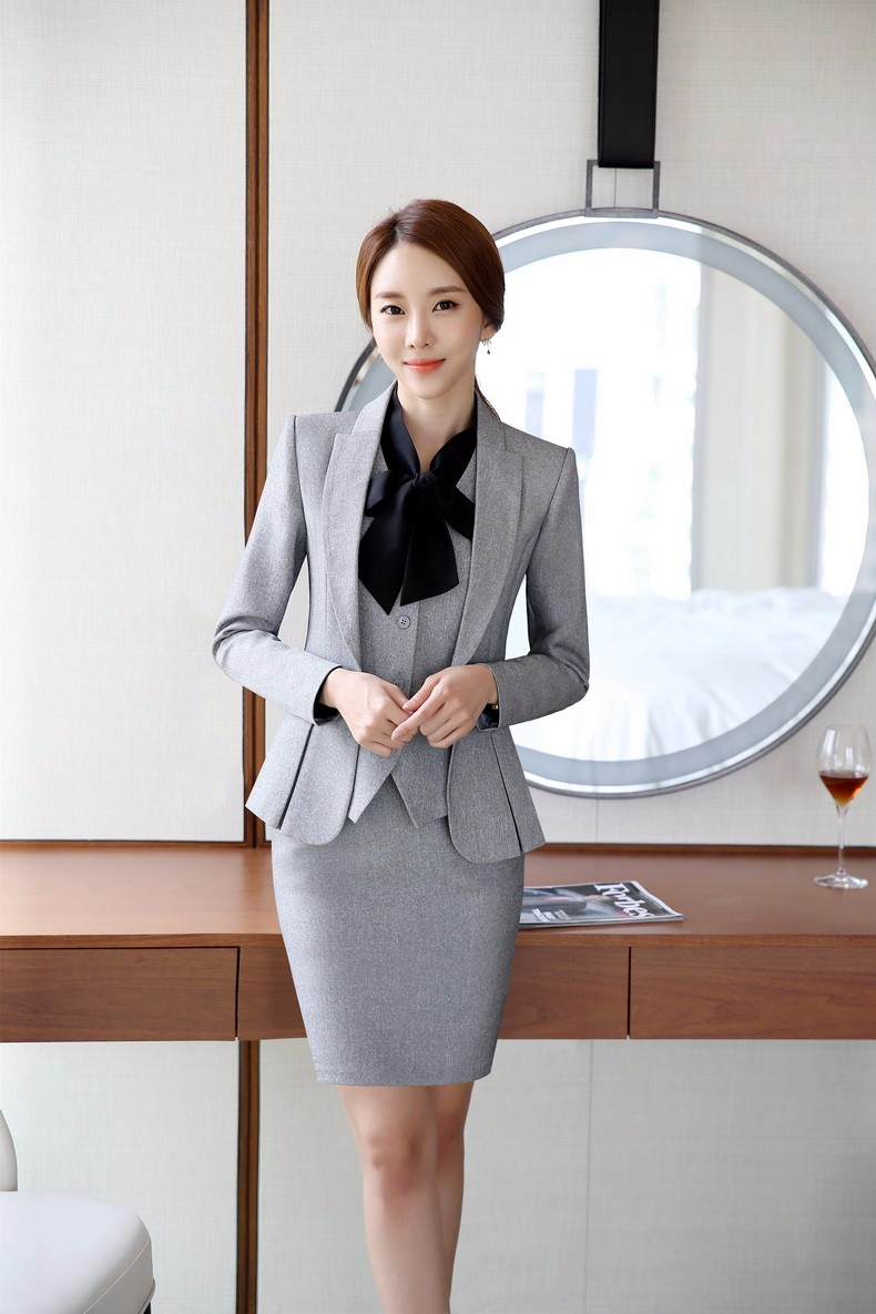 a526eee0d298 -Novelty Grey Formal OL Styles Professional Business Women Work Suits With  3 Pieces Jackets +Vest +Skirt Ladies Blazers Outfits