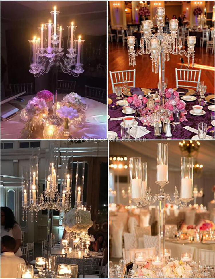 cheap wedding crystal 9 arm glass huricane tall gold candelabra table centerpiece