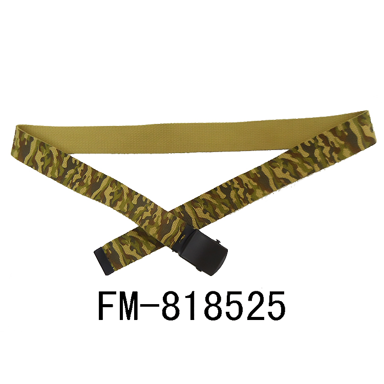 FM brand manufacturer OEM logo men's fabric belts cheap fabric nylon military belt