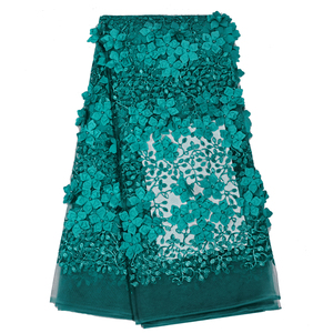 China Factory Wholesale teal African Elastic Dress making 3d african lace fabric FL0316