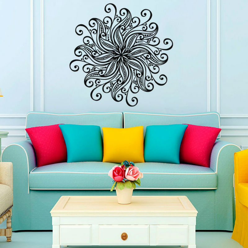 Flower Wall Stickers Art Vinyl Self Adhesive Home Decor Indian Mandala Murals For Living Room