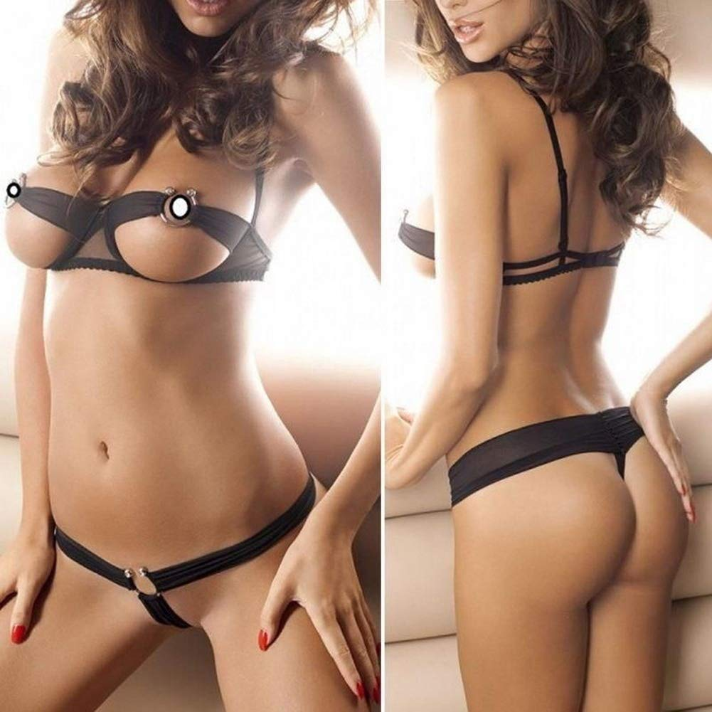 c91917b19bff9 Get Quotations · maledery Hot Women Girls Sexy Cupless Lingerie Open Cup  Bra G-String Babydoll Sexy Underwear