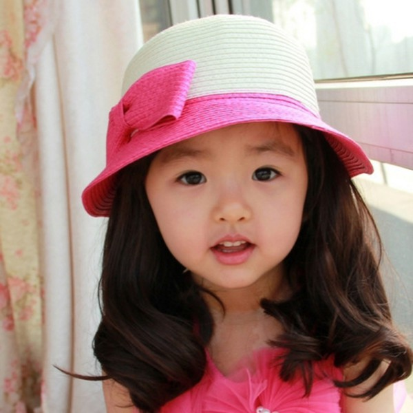 7d63b670064 Cute Child Girls Straw Bowknot Sun Hat Kids Large Brim Beach Summer Hat ...