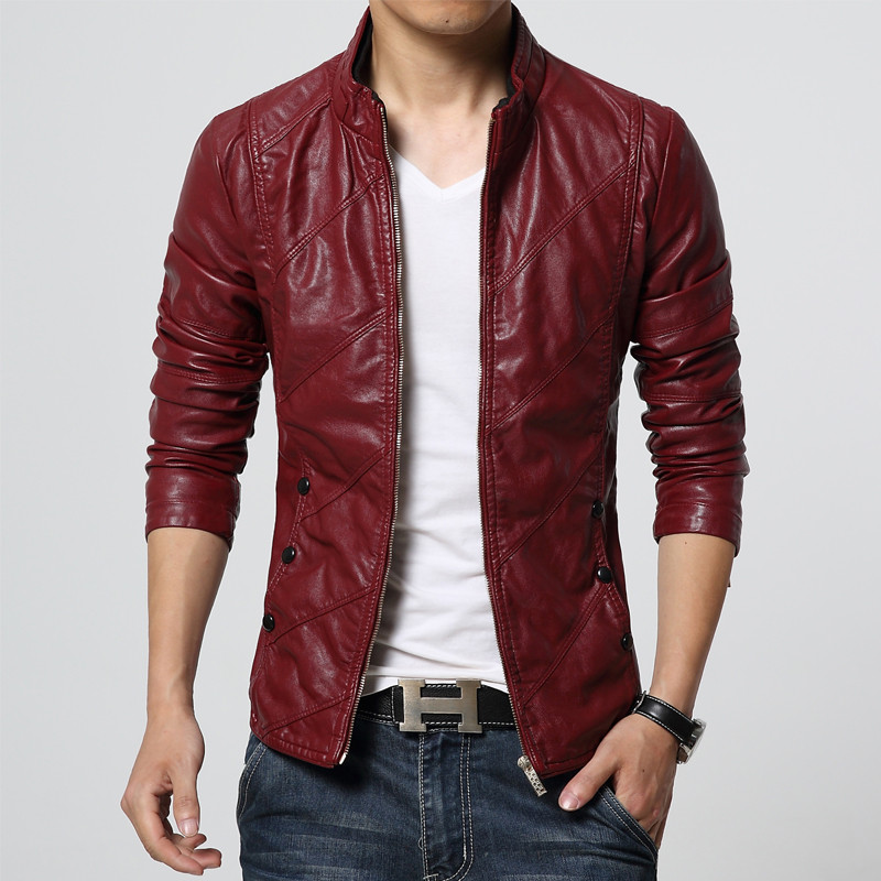 907dede080 2019 Mens Leather Jacket 2017 Autumn Winter Slim Fit Faux Leather ...