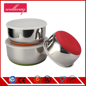 stainless steel harmony bacon mixer bowl with silicone base and pe lid