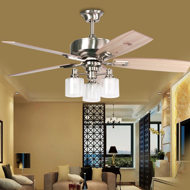 Living Room 3 Lights Fan Chandelier Restaurant 5 Leaves Ceiling Fan
