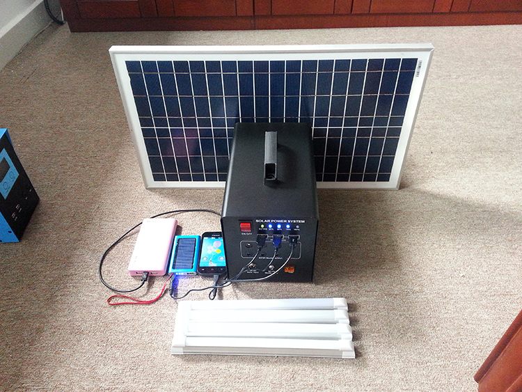 low price 60W 12V DC portable solar powered generator with cigarette lighter