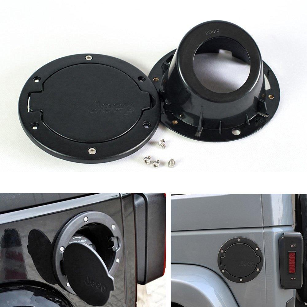 Jeep Wrangler Fuel Filler Door Black Gas Tank Cap Cover Door fit for 2007 - 2015 Jeep Wrangler JK & Unlimited