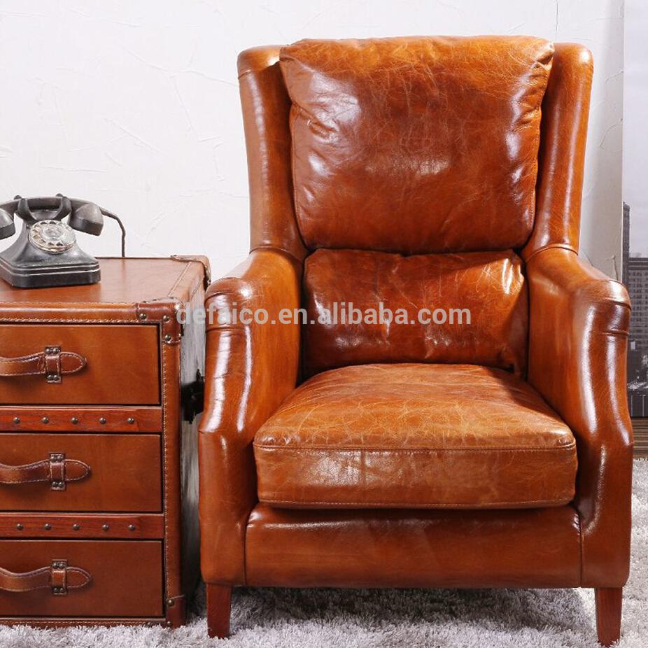 Dossier haut pilote Deluxe en cuir Vintage Wing fauteuil Chaises