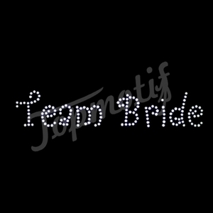 Team brides flashing clear stones bling transfer iron on patches