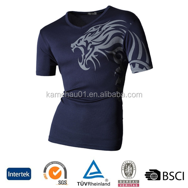 Good price men V neck 0.50 dollar 65% polyester 35 rayon dry fit bulk blank wholesale t-shirts