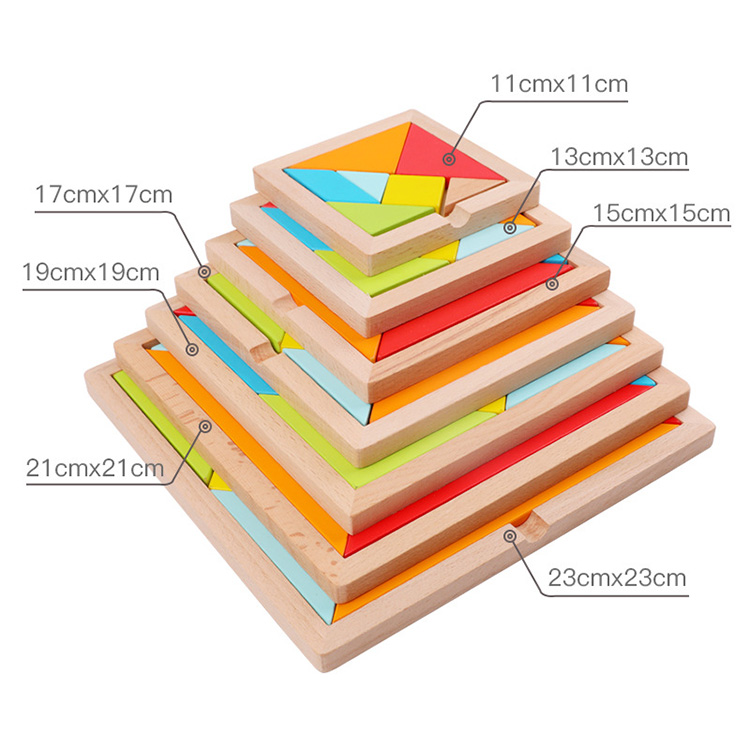 Wooden Tangram 7 Piece Jigsaw Puzzle Colorful Square wooden educational toys tangram puzzle