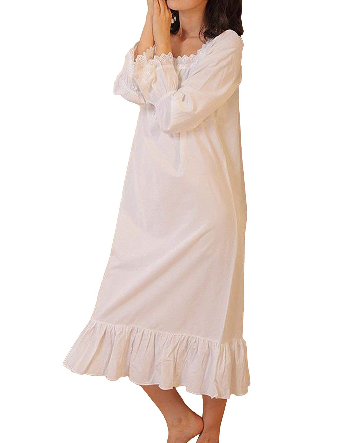 Get Quotations · Miureal Women s Victorian Nightgown Long Sleeve Lace Trim  Martha Vintage Nightgown 05f6ea97c