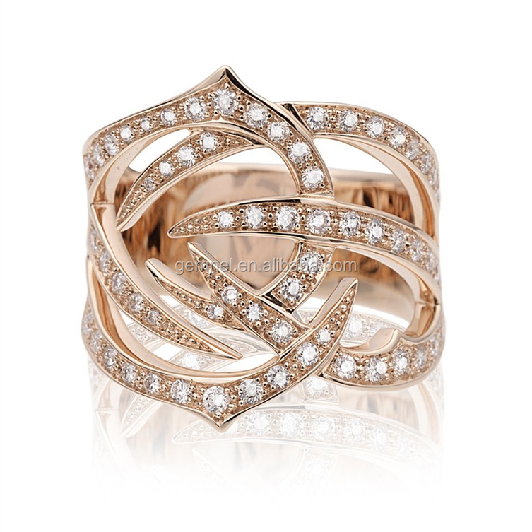Most Popular Fashion Jewelry zircon 18k rose gold plated ring