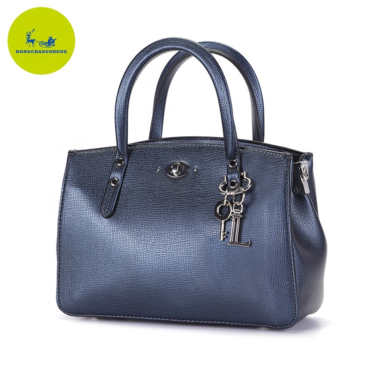 2019 newest navy blue pu leather designer tote handbags for women