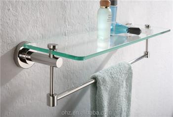 Stainless Steel Bathroom Glass Shelf With Towel Rack Ymt