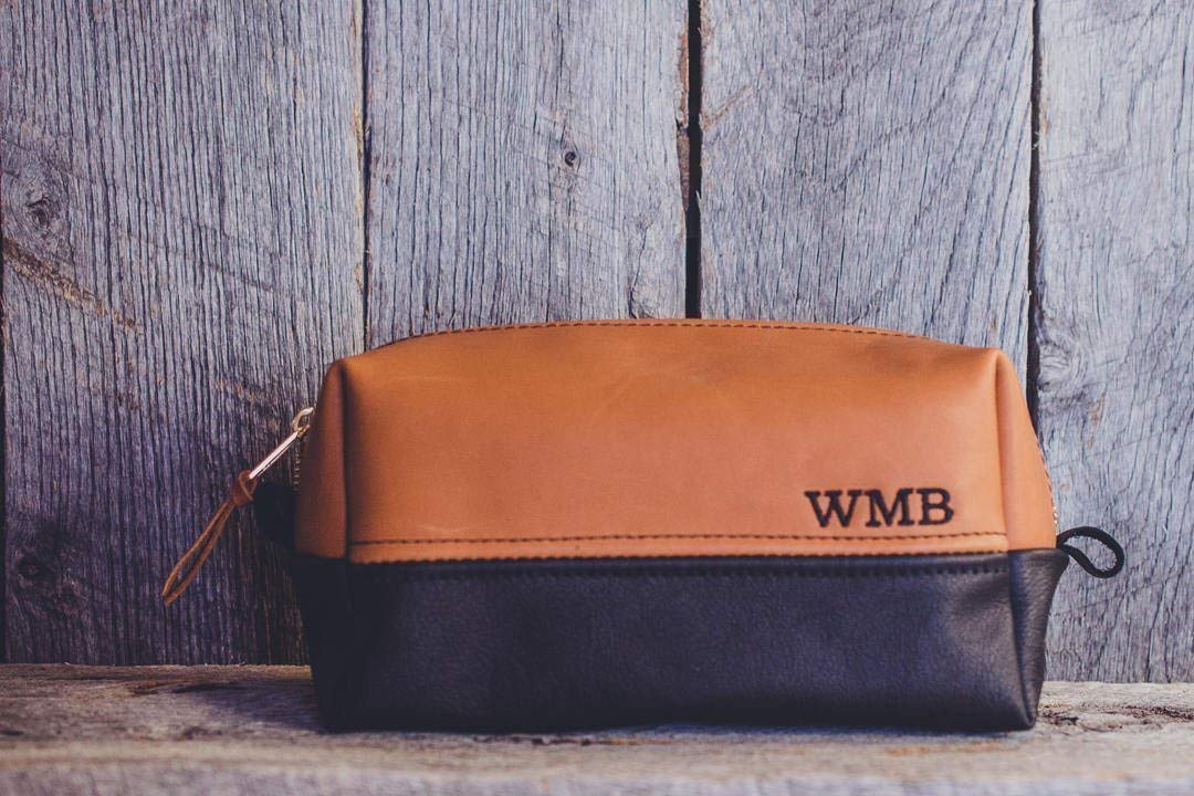 Get Quotations · Personalized Leather Dopp Kit Groomsmen Gift   Monogram  Two Tone Leather Mens Toiletry Bag Wash Bag 7fb2622271